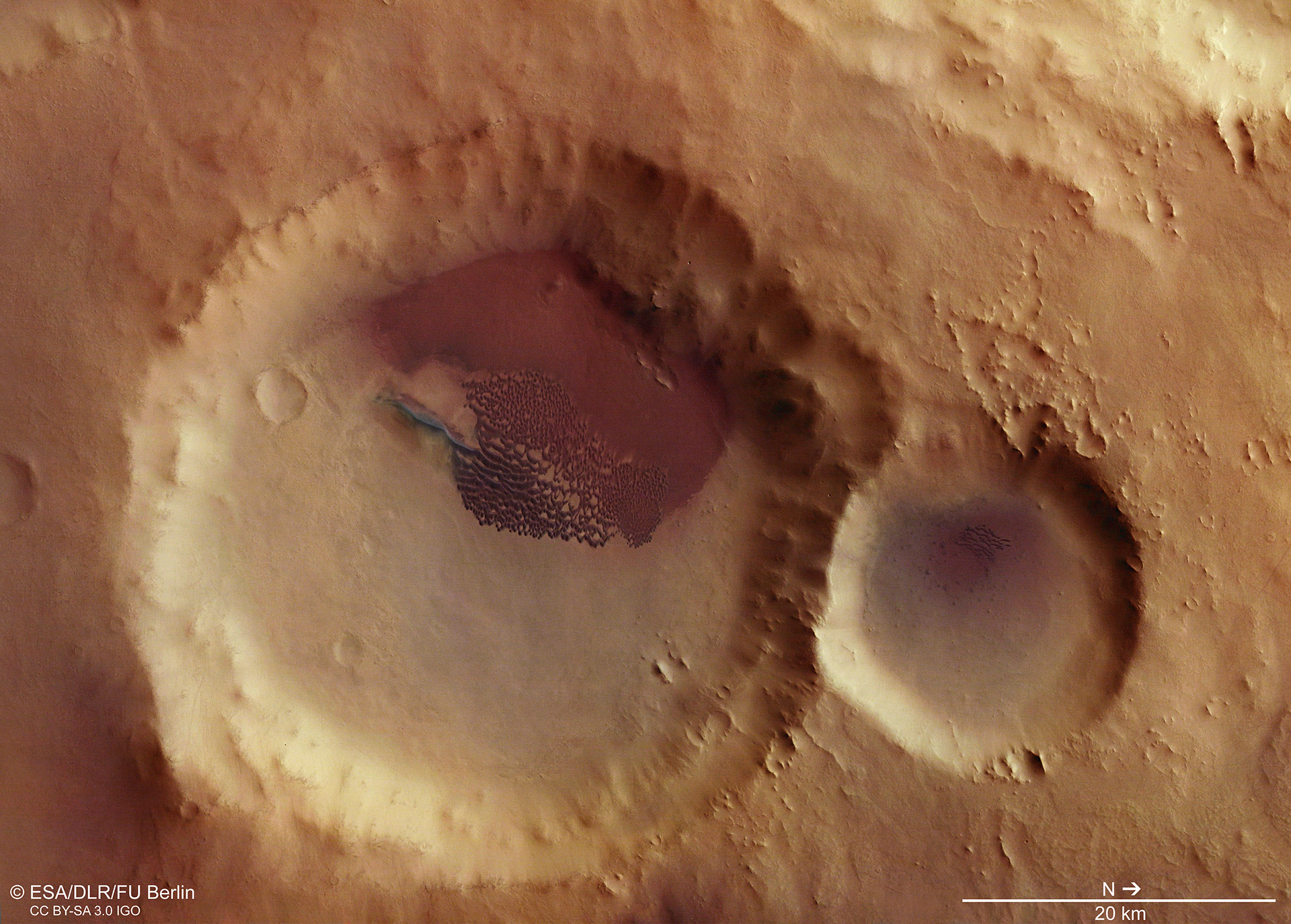 Plan view of a Martian crater
