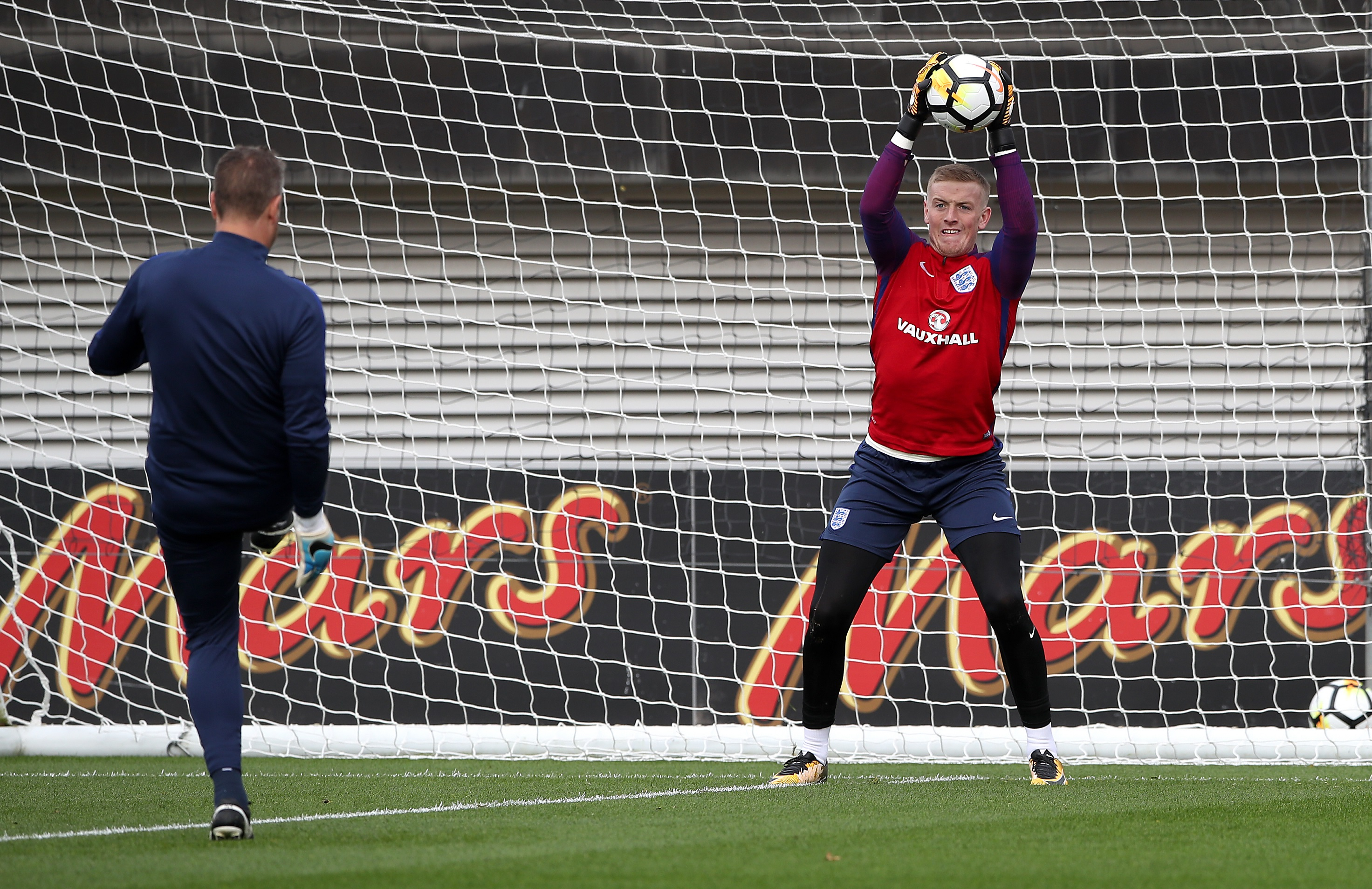 Jordan Pickford trains with England