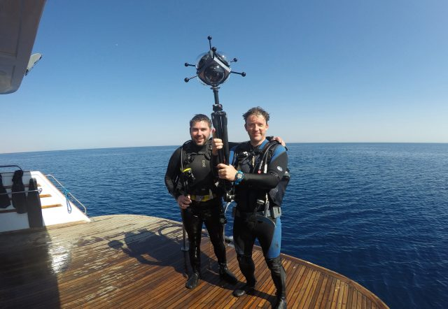 Two members of the video team with a 360 degree video camera (University of Nottingham/PA)