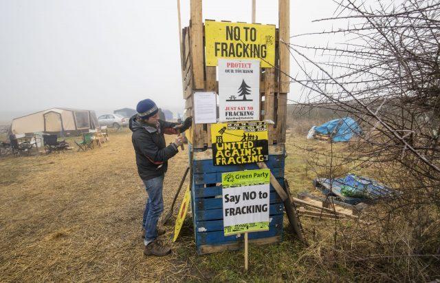 Fracking protester