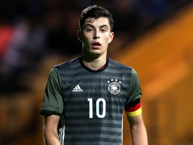 Kai Havertz in action for Germany Under-19s against England