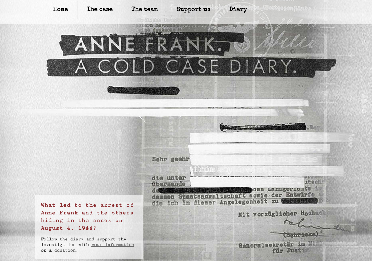 The home page of the website Anne Frank A Cold Case (coldcasediary.com)