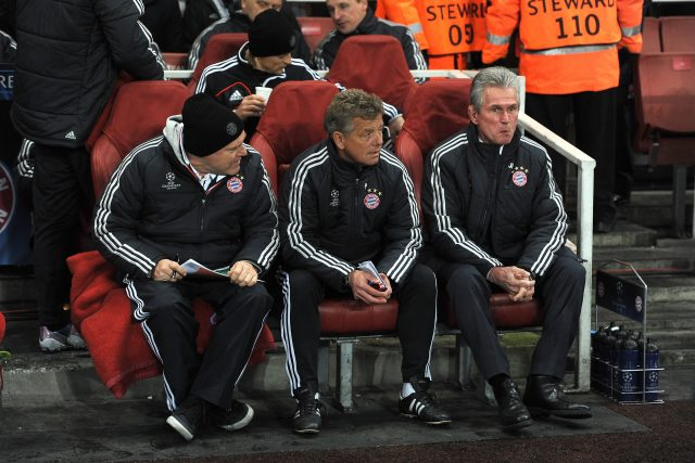 Hermann Gerland, Peter Hermann and Jupp Heynckes in 2013