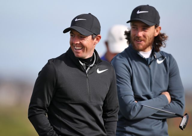 Rory McIlroy and Tommy Fleetwood on the fourth green