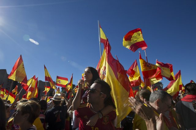 People gather in Madrid for a rally against the independence push