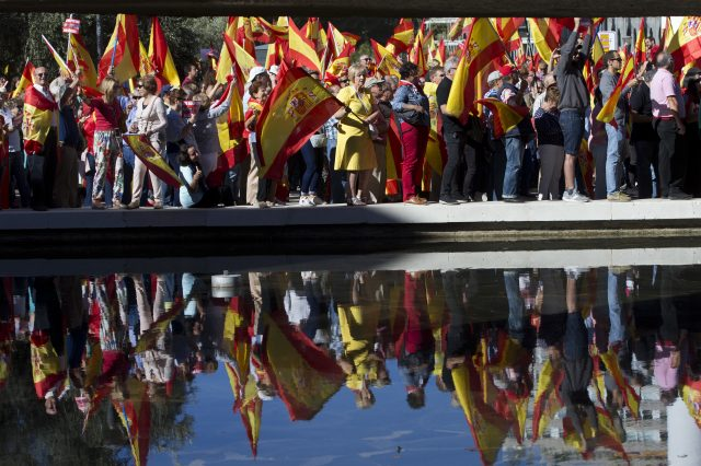 Thousands of pro-Spanish unity supporters rallied in a central Madrid plaza