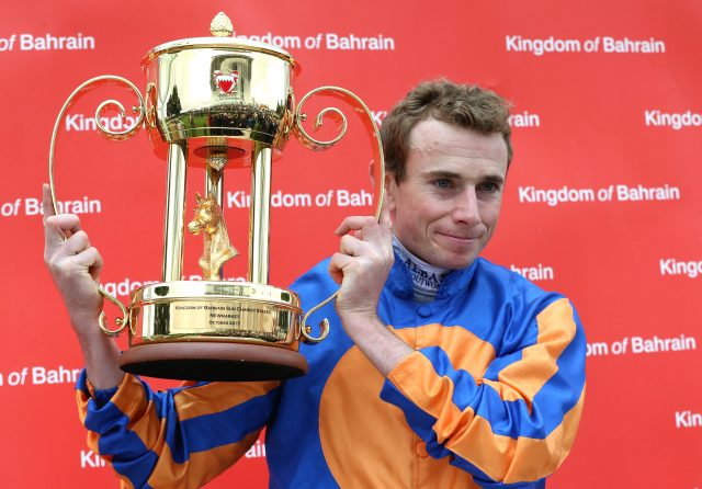 Ryan Moore after winning the Sun Chariot Stakes on Roly Poly