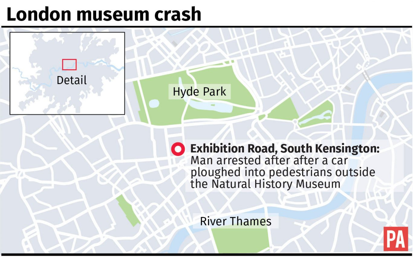 Map locates where a car hit people near the Natural History Museum in London