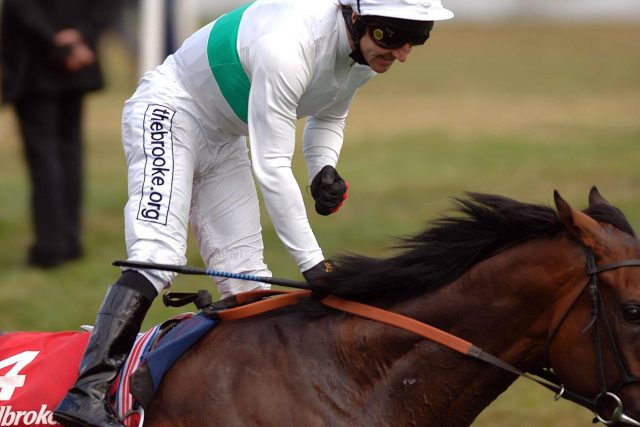Jimmy Fortune celebrates winning the St Leger at Doncaster in 2007 aboard Lucarno