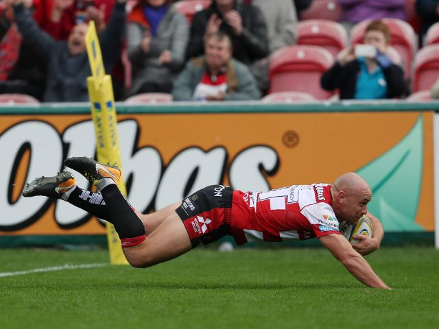 Willi Heinz scoring for Gloucester against Northampton
