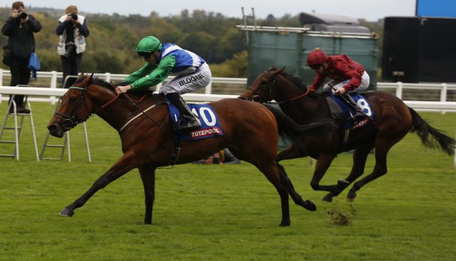 One Master, ridden by Martin Harley, wins the October Stakes