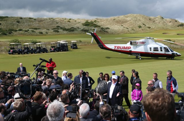 Donald Trump's helicopter lands at Trump International Golf Links at Balmedie
