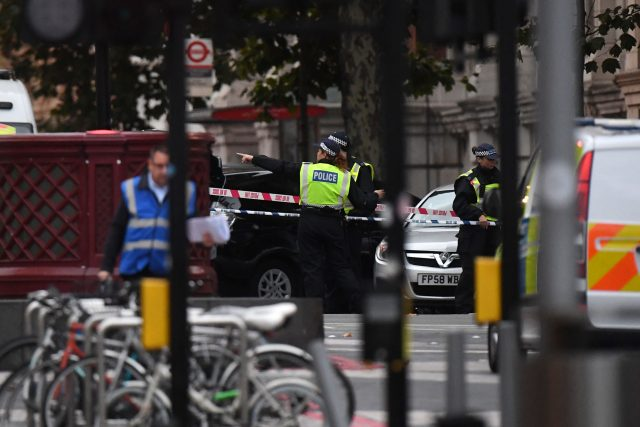 Police at the scene on Exhibition Road in London
