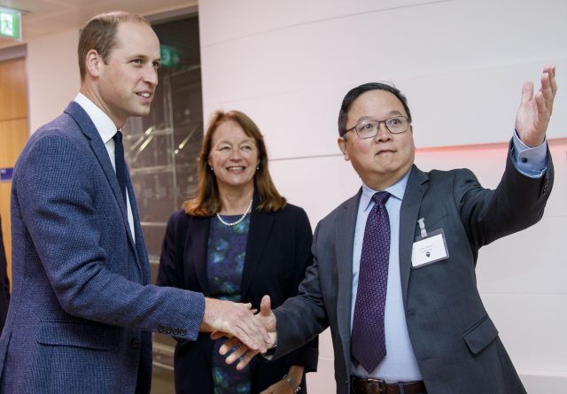 The Duke of Cambridge is greeted by director of the Imperial College Data Science Institute Professor Yi-Ke Guo