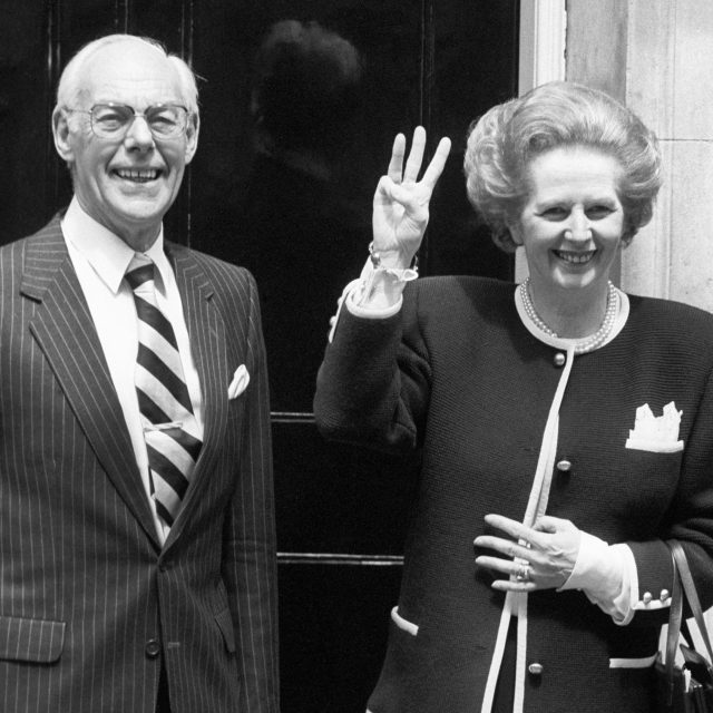 Margaret Thatcher with husband Denis after winning her third term as PM in 1987