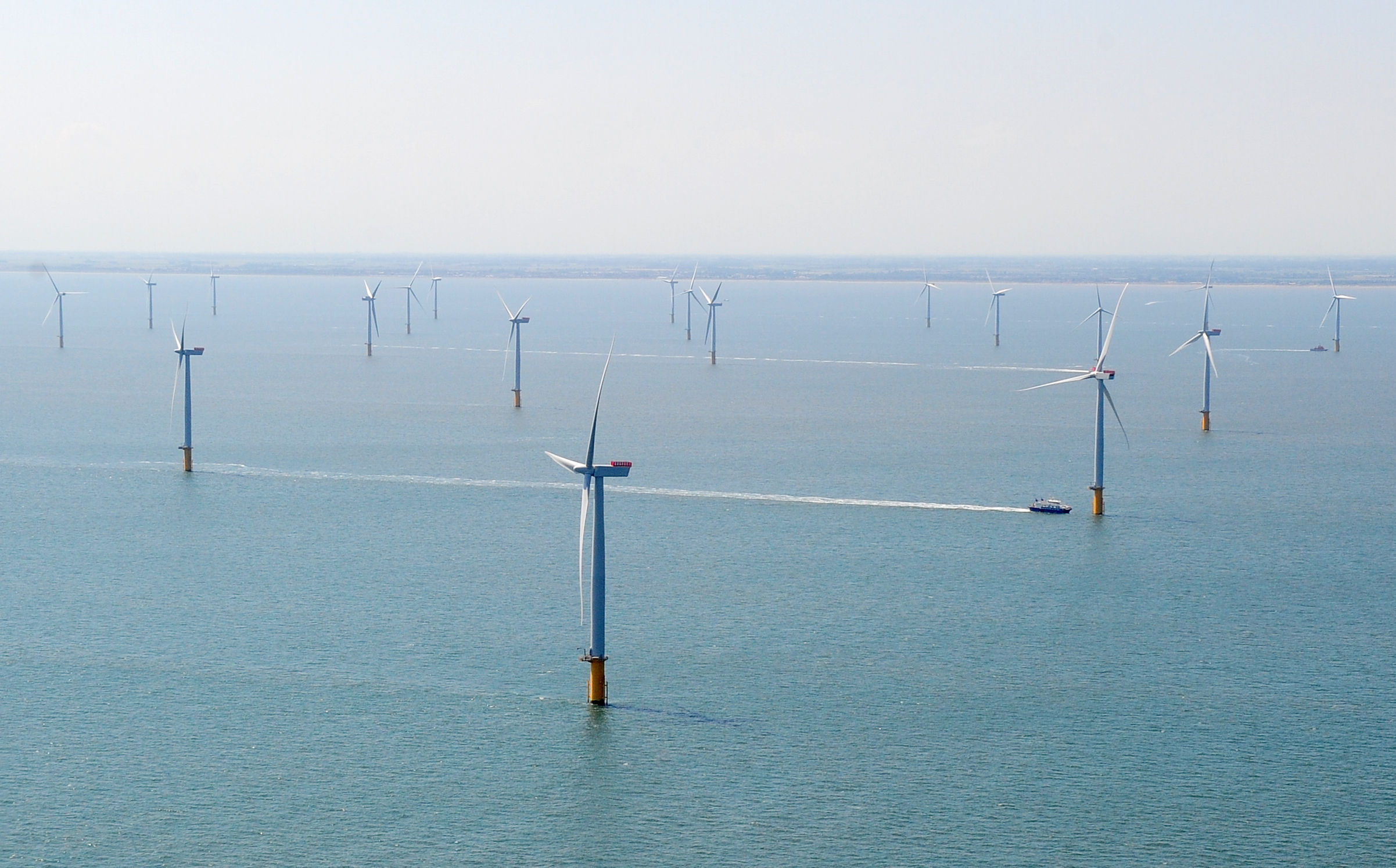 aerial view showing the new Centrica Energy Lincs offshore wind farm off the Lincolnshire coast.