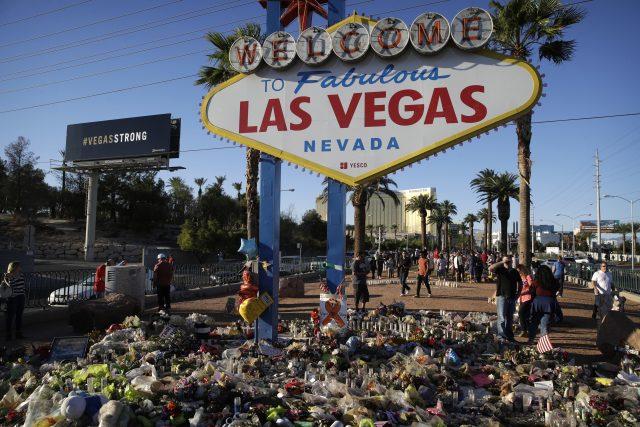Flowers surround the famous Las Vegas sign