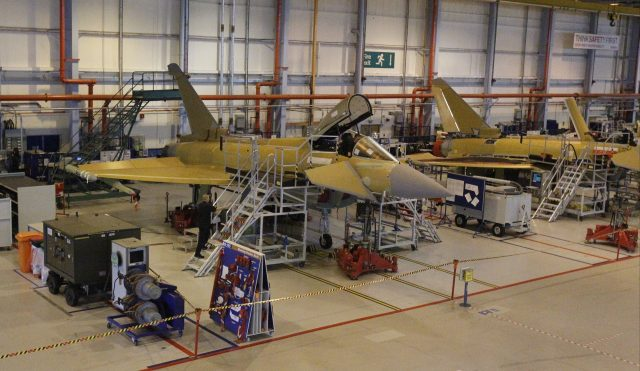 Eurofighter Typhoons under construction at BAE Systems, Warton Aerodrome, Lancashire