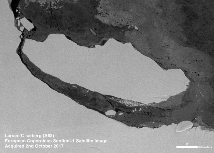 A satellite image showing the Larsen C iceberg moving away from the ice shelf