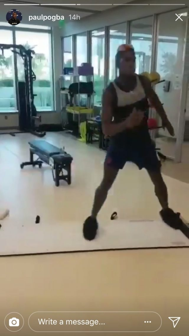 Pogba appeared to be showing the strength in his hamstring in the videos (Paul Pogba/Instagram)
