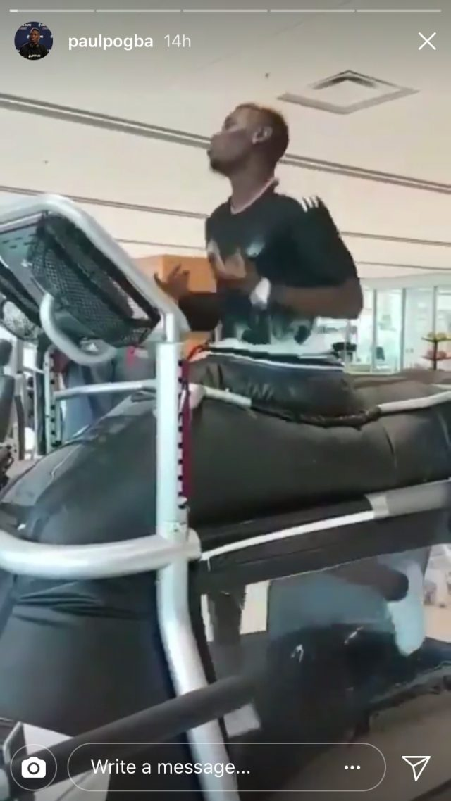 Pogba shared footage of himself running on a treadmill (Paul Pogba/Instagram)
