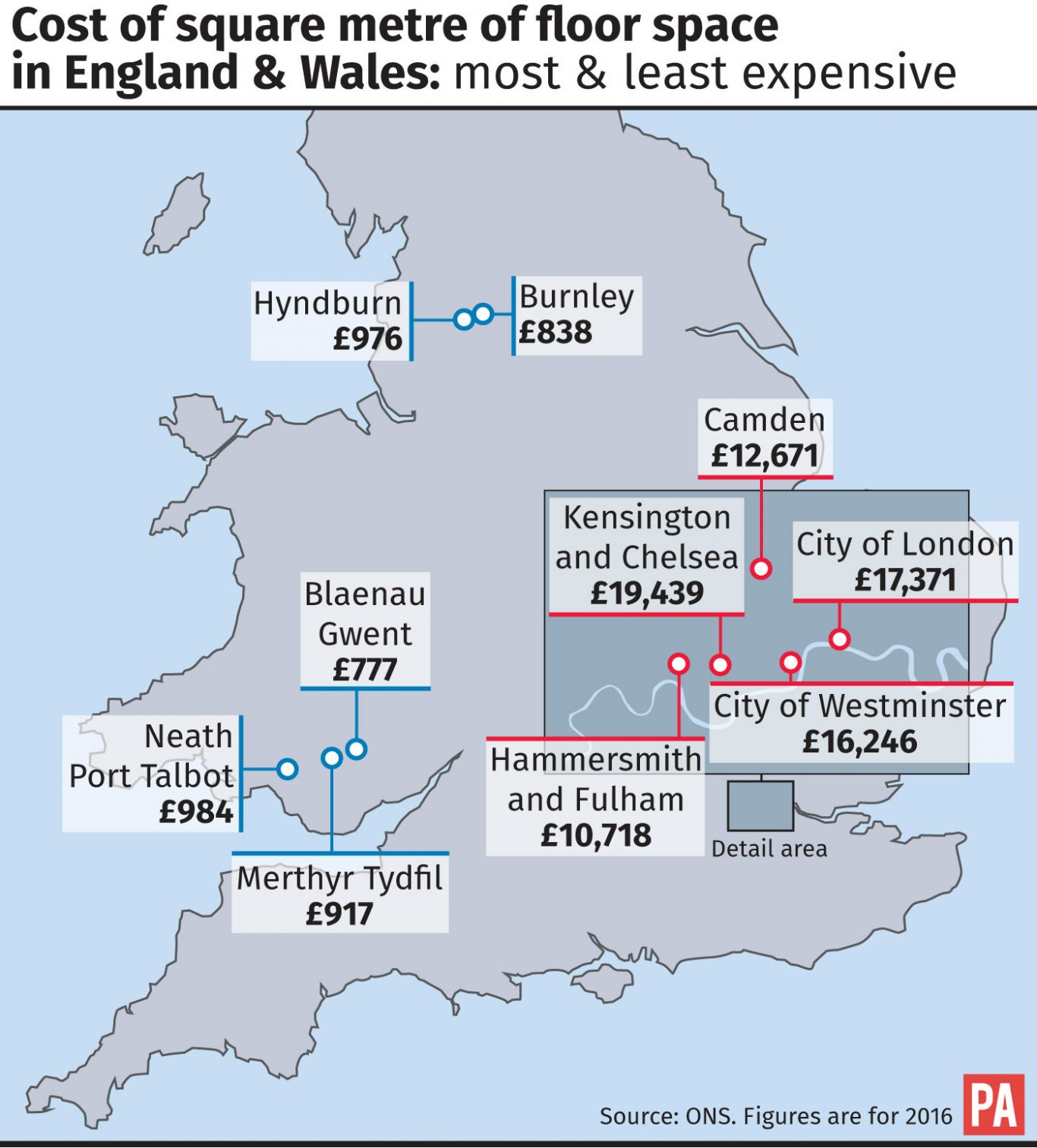 Cost of square metre of floor space in England & Wales: most & least expensive.