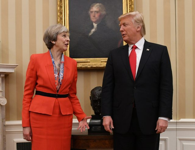 Theresa May meeting US President Donald Trump in the Oval Office of the White House