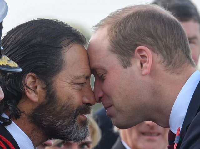 The Duke shared the traditional Maori greeting with Willie Apiata