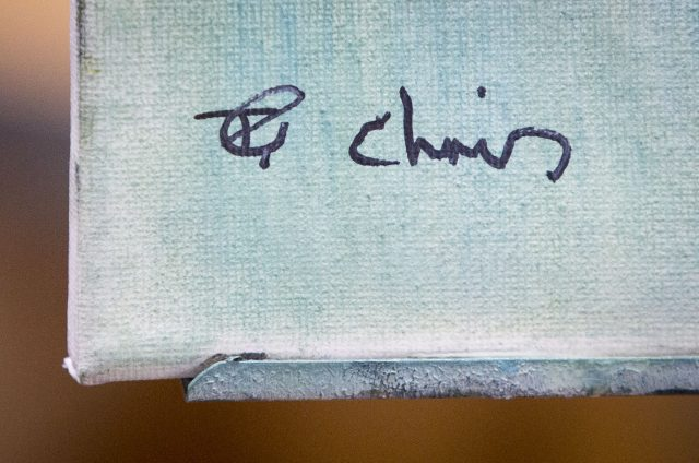 The signatures of Jeremy Corbyn and artist Chris Ellerton (Danny Lawson/PA)