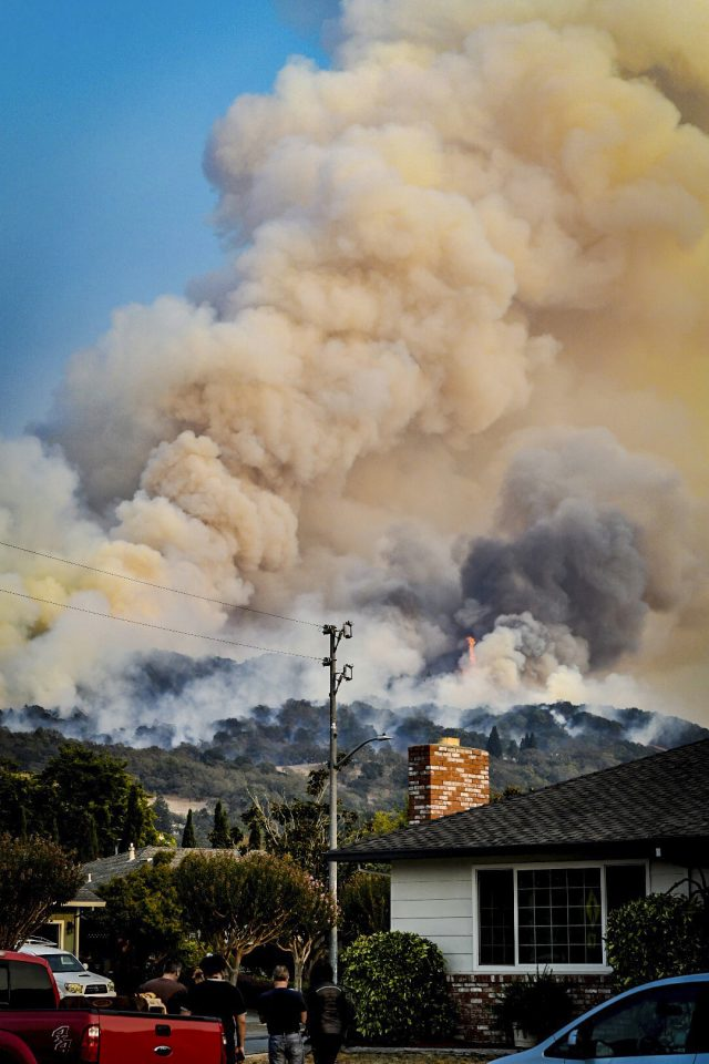 Smoke rises from fires in Santa Rosa, California
