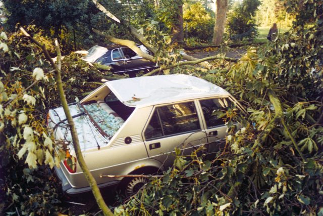 Cars destroyed during the storm