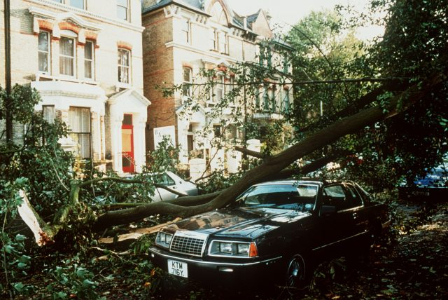 Hurricane damage in 1987