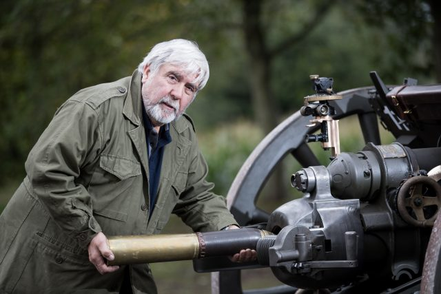 John Slough with a restored 18-pounder field gun