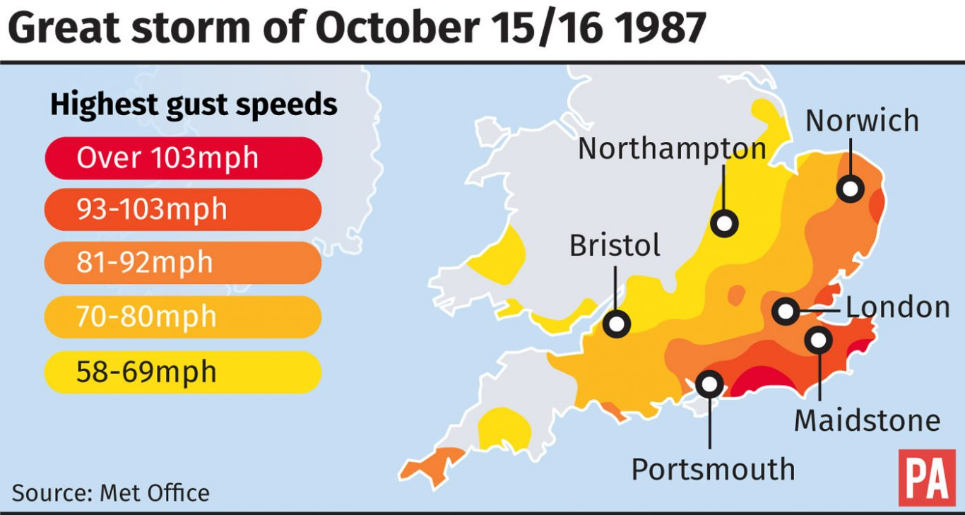 The areas worst hit by wind in the Great Storm of 1987