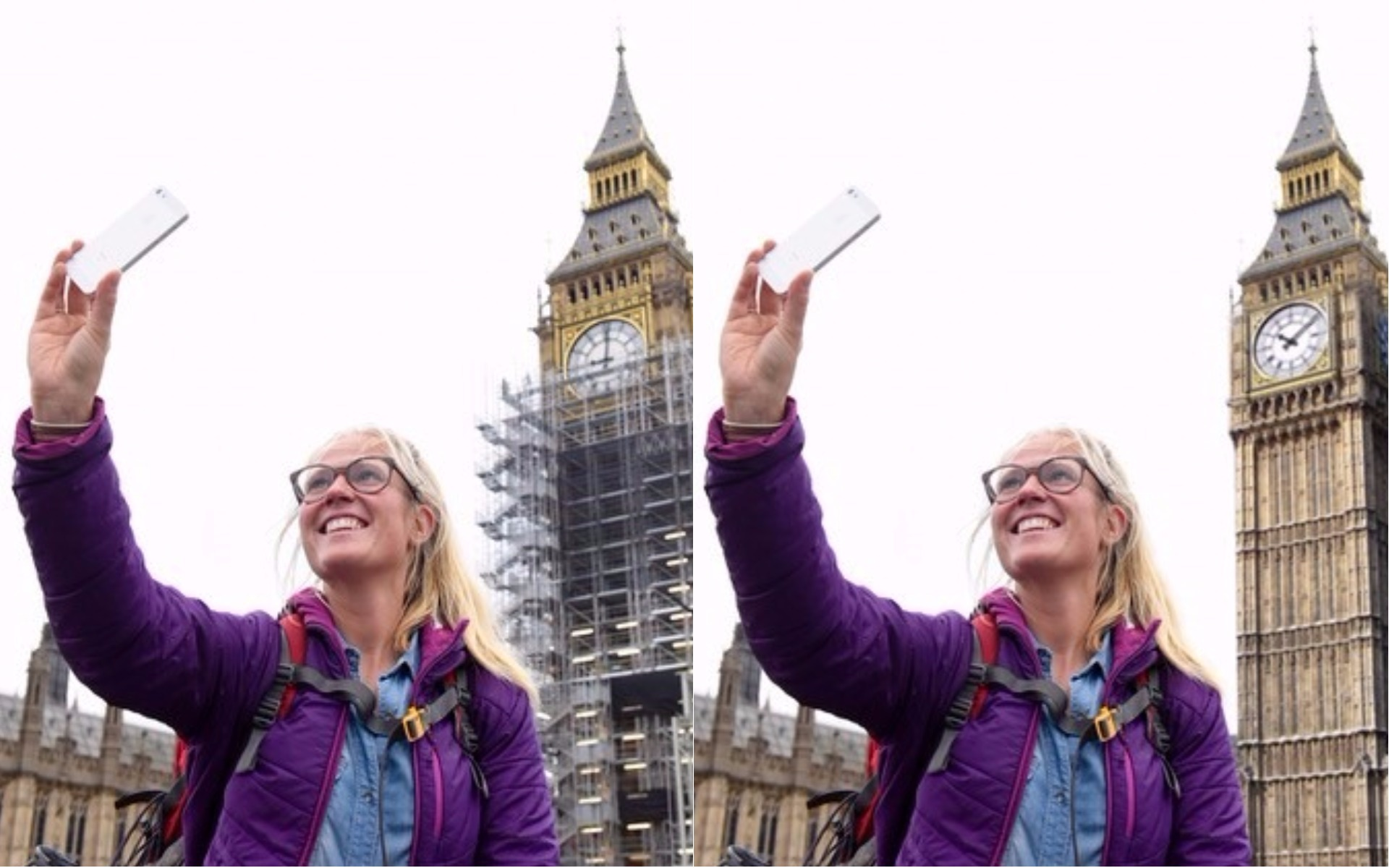 With and without the Big Ben scaffolding
