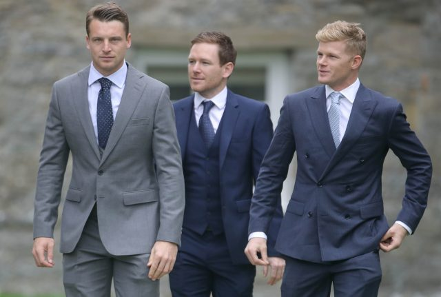 England cricket players Jos Buttler (left), Eoin Morgan (centre) and Sam Billings (right). (Steve Prsons/PA)