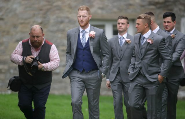 England all-rounder Ben Stokes (centre) arrives for his marriage. (Steve Parsons/PA)
