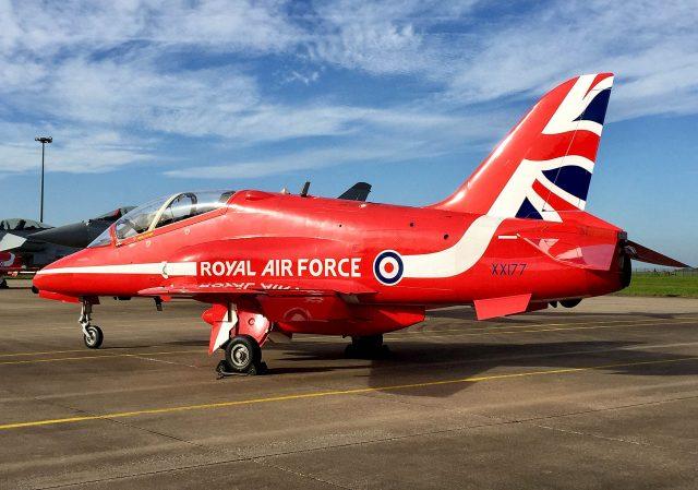 A Red Arrows Hawk TMk1 XX177. ( Alex Britton/PA)