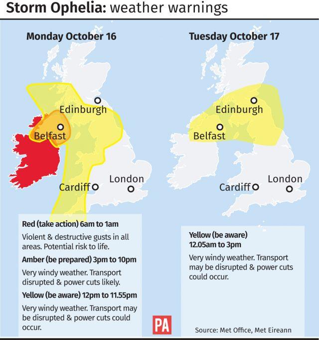 Storm Ophelia weather warnings