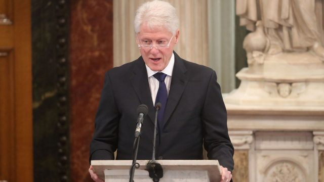 Bill Clinton spoke at the funeral of former deputy first minister Martin McGuinness in March