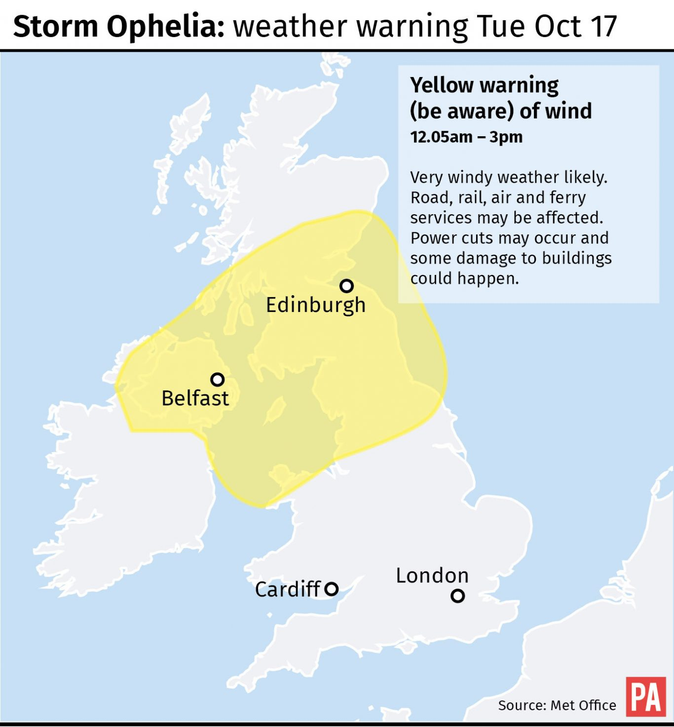 Graphic maps yellow warning of wind from the Met Office