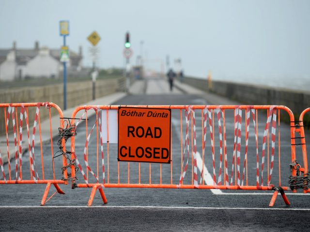 Road closure at the Wooden Bridge to North Bull Island, Clontarf, Dublin