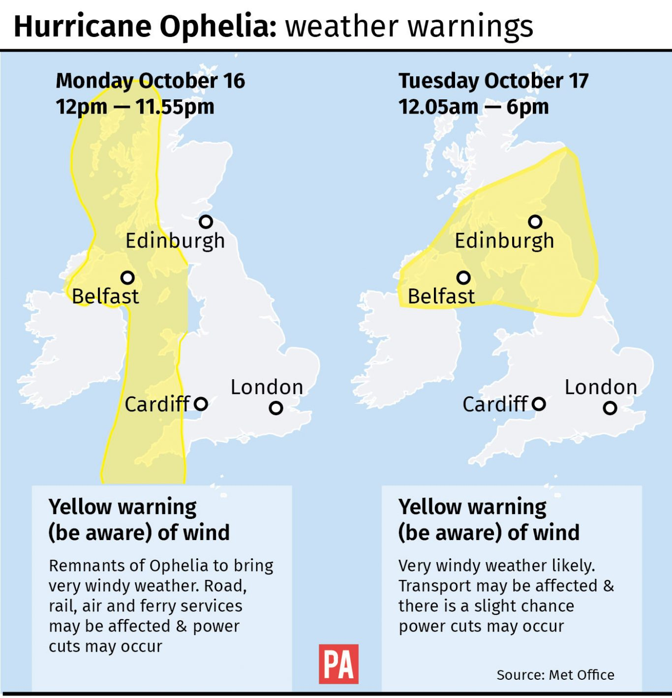 Graphic maps yellow warnings of wind from the Met Office