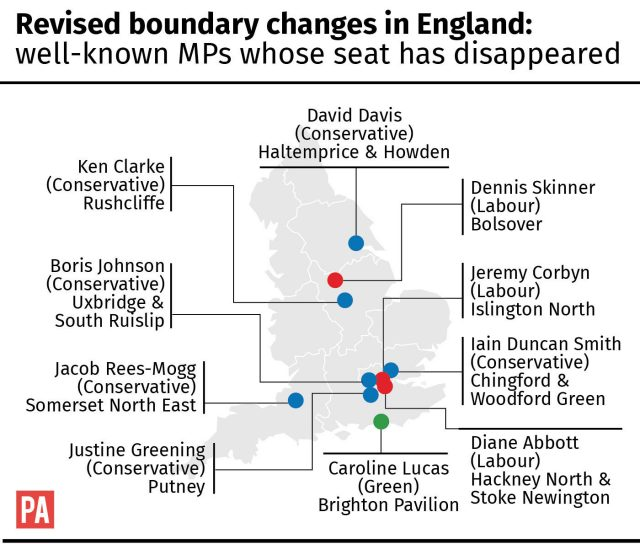 Revised boundary changes in England: 10 well-known MPs whose seat has disappeared (PA Graphics)