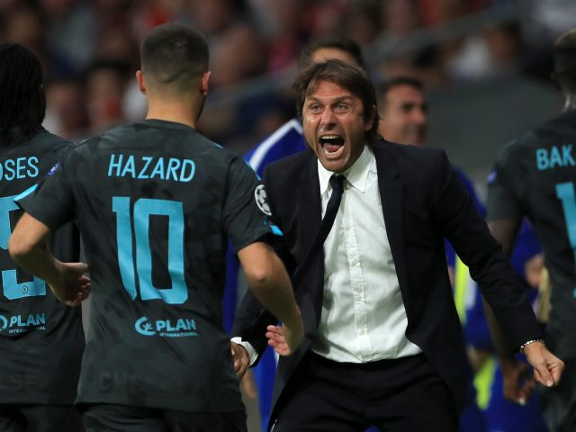 Chelsea manager Antonio Conte celebrating with Eden Hazard against Atletico Madrid