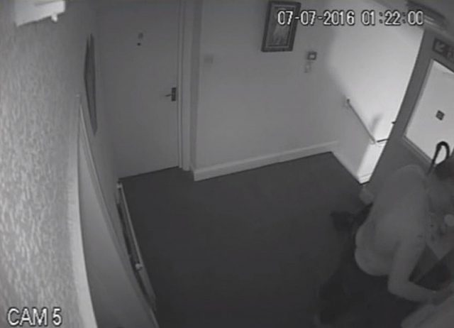 CCTV of Jeffrey Barry knocking on the door of Kamil Ahmad's flat