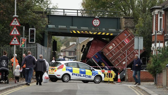 An articulated lorry which hit a bridge in Coombe Valley Road, Dover