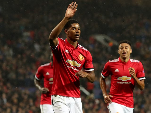 Marcus Rashford celebrates scoring a goal for Manchester United