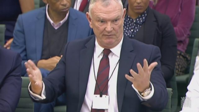 FA chairman Greg Clarke in front of the committee