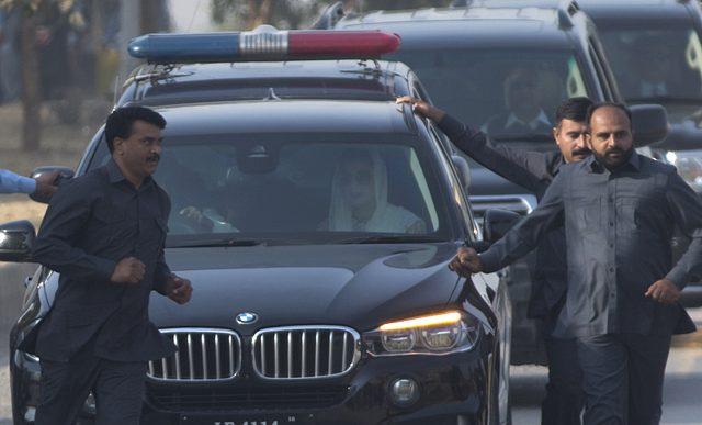 Maryam Sharif arrives at the Accountability Court in Islamabad (BK Bangash/AP)